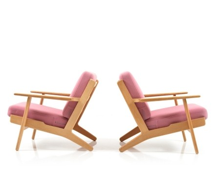 Set of 2 GE-290 lounge chairs from the sixties by Hans Wegner for Getama