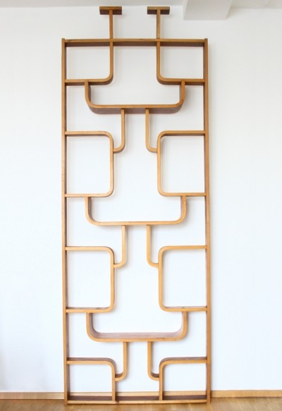 Decorative room divider wall unit from the sixties by Ludvík Volák for Drevopodnik Holesov
