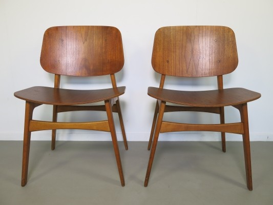 Pair of No155 dinner chairs by Børge Mogensen for Soborg Mobler, 1950s