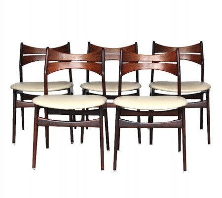 5 model 310 dinner chairs from the fifties by Erik Buck for C F Christensen