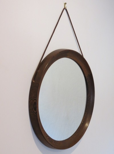 Circular Wall Hanging Mirror in Wenge by Uno & Osten Kristiansson
