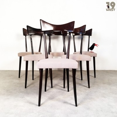 Set of 6 dinner chairs from the forties by unknown designer for unknown producer