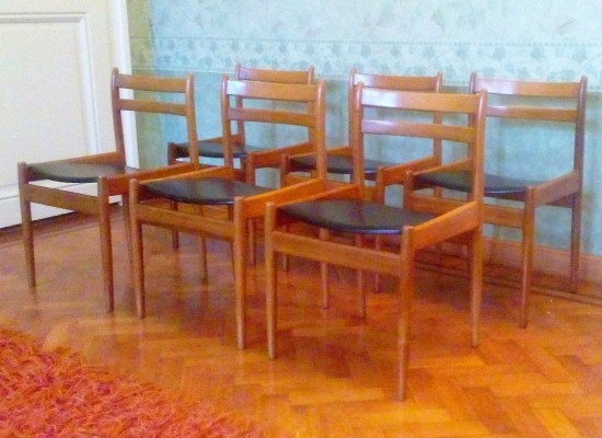 Set of 6 dinner chairs from the seventies by Jos de Mey for Van Den Berghe Pauvers