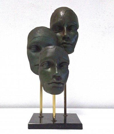 Bronze & Brass Sculpture with Three Faces on Marble Base