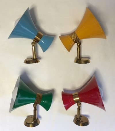 Four Italian Mid-Century Double Cone Sconces
