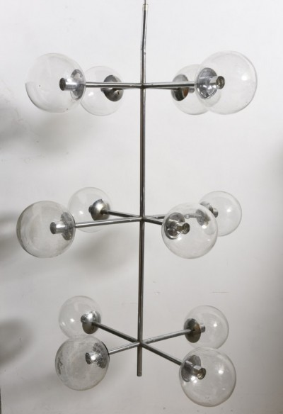 Large Sputnik Chrome Light Fixture with 12 Big Clear Glass Globes, by Kinkeldey