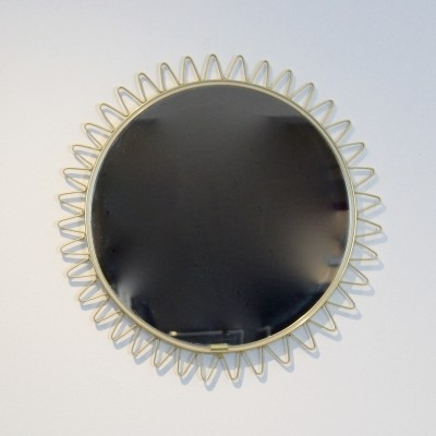 Brass Framed Sunburst Mirror