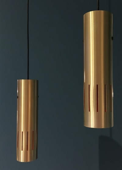 Pair of Trombone hanging lamps by Jo Hammerborg for Fog & Mørup, 1960s