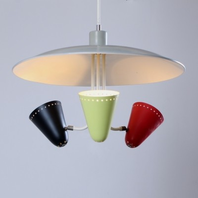 Saucer hanging lamp from the fifties by H. Busquet for Hala Zeist