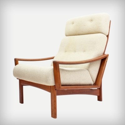 Danish High Back Teak 'Vario' Armchair by Grete Jalk for Glostrup Møbelfabrik