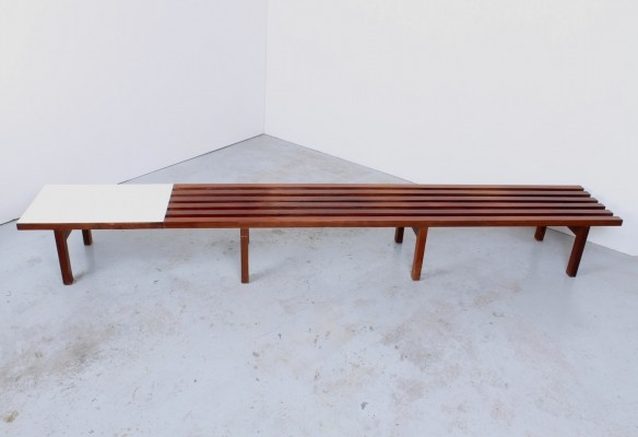 Teak slatted bench from the sixties