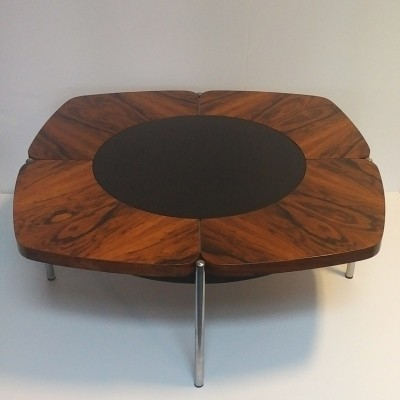 Rosewood & steel low table with black glass center