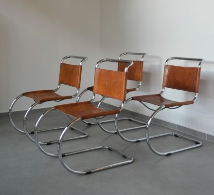 4 MR 10 dinner chairs from the sixties by Ludwig Mies van der Rohe for Gavina