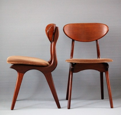 2 dinner chairs from the sixties by Louis van Teeffelen for Wébé