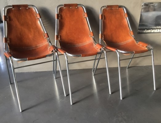 3 Les Arcs dinner chairs from the sixties by Charlotte Perriand for unknown producer