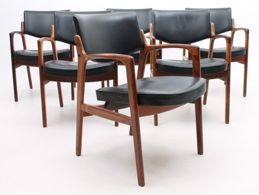 Set of 6 arm chairs from the sixties by unknown designer for unknown producer