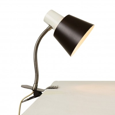 Dark brown & white clamp desk light designed in the sixties by H. Busquet for Hala Zeist