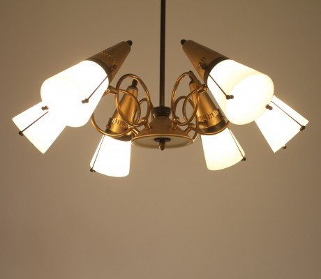 Glass & brass pendant with six adjustable sconces, Italy 1960