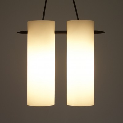 Opaline Glass Pendant Lamp by Uno & Östen Kristiansson for Luxus, Sweden 1950