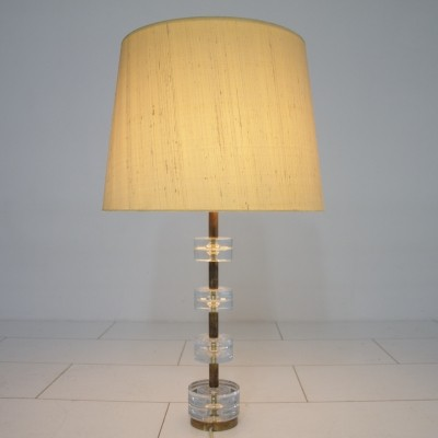 Brass & Glass Table Lamp by Luxus Sweden, circa 1960s