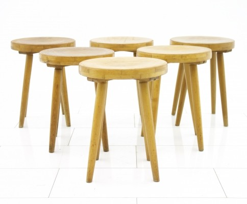 Set of six decorative solid Wood Stools, Germany 1950s.