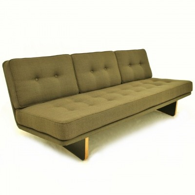 Dutch design 3 seater sofa in original green fabric by Kho Liang Ie for Artifort