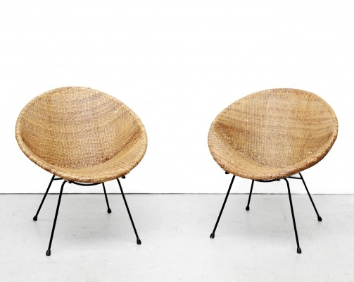 2 Basket lounge chairs from the fifties by Paul McCobb for unknown producer