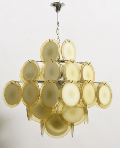Large Amber Five-Tiered Murano Glass Disc Chandelier by Vistosi & 2 Sconces