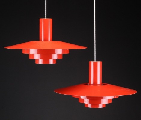 7 Karlebo hanging lamps from the sixties by Hans Hartvig Skaarup & Marinus Jespersen for Fog & Mørup