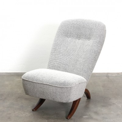 Grey re-upholstered Congo lounge chair designed by Theo Ruth for Artifort