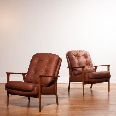 Pair of Tunis lounge chairs by Inge Andersson for Bröderna Andersson, 1960s