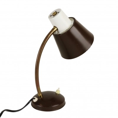 Dark brown & white desk light from the sixties by H. Busquet for Hala Zeist