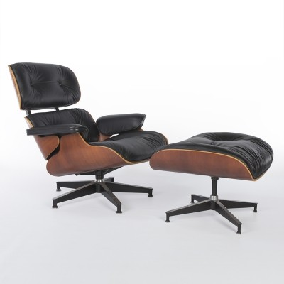 Premium Leather Eames Lounge Chair & Ottoman by Charles & Ray Eames for Herman Miller
