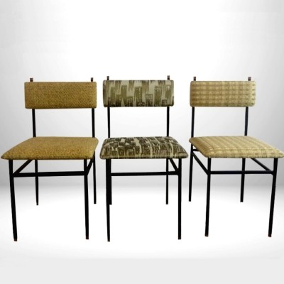 Italian Industrial set of Dining Chairs with Dedar different fabrics