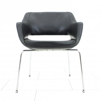 Rare Lobby Chair by Eugen Schmidt in black Leather