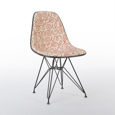 Vintage Eames Eiffel DSR Chair With Red Names Alexander Girard Upholstery
