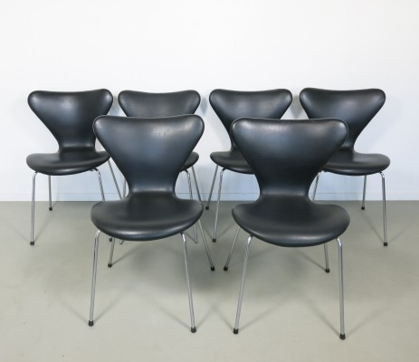 Set of 6 No 3107 dinner chairs by Arne Jacobsen for Fritz Hansen, 1950s