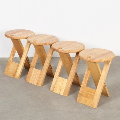 Set of 4 stools from the sixties by Roger Tallon for Sentou
