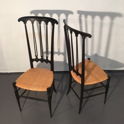 Pair of Chiavari dinner chairs, 1950s