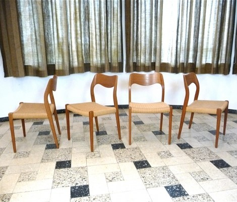 Set of 4 Model No. 71 dinner chairs from the fifties by Niels Otto Møller for J L Møller