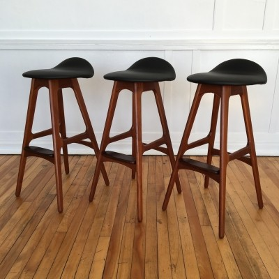 Set of 3 stools from the sixties by Erik Buch for OD Møbler