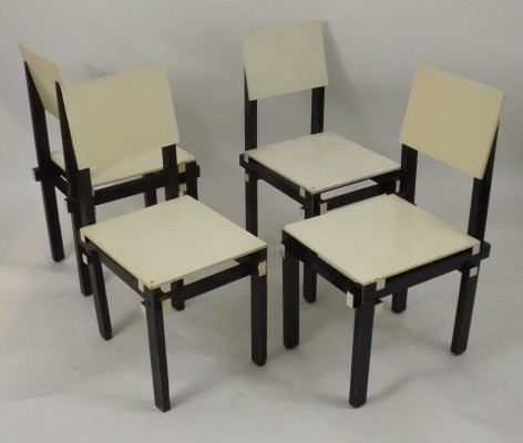 Set of 4 Militairy dining chairs by Gerrit Rietveld, 1930s