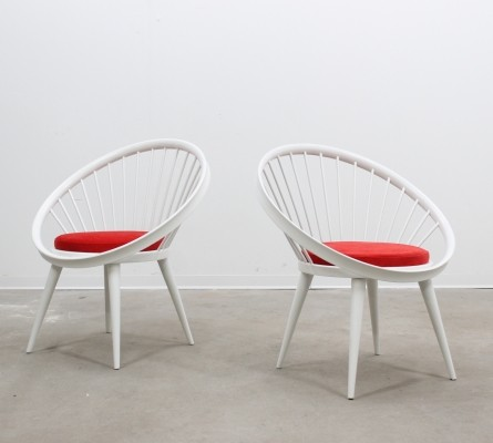 Pair of Yngve Ekström arm chairs, 1950s