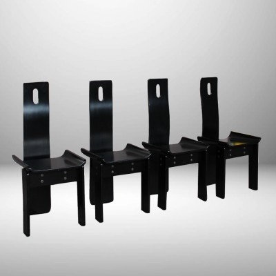 Lacquered Black Italian Modernist set of chairs