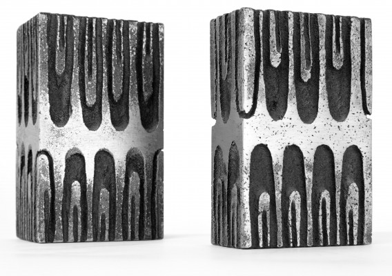 Set of 2 Brutalist vases from the sixties by Willy Ceysens for unknown producer