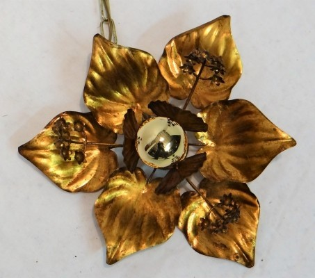 Gold plate leaves chandelier hanging lamp from the fifties by Willy Daro for unknown producer