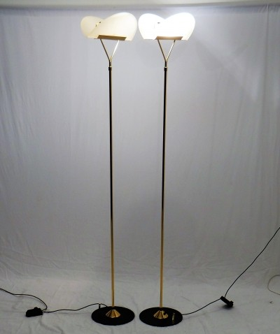 Pair of Gold plate floor lamps by F. Fabbian, 1980s