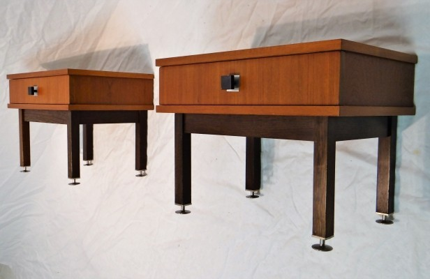 Set of 2 Nightstands side tables from the sixties by unknown designer for unknown producer