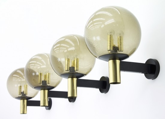 Set of 4 Limburg Wall Lights with Smoked Glass & Brass, 1970s