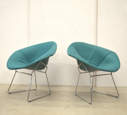 Set of 2 Diamond lounge chairs from the sixties by Harry Bertoia for Knoll International